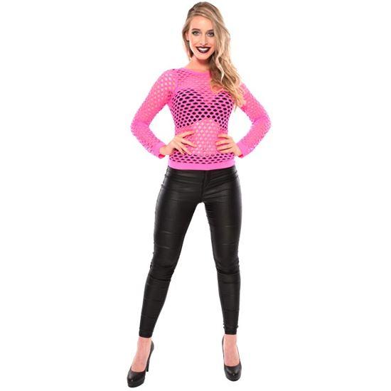 damesshirt-gaten-fluor-roze-mt-lxl